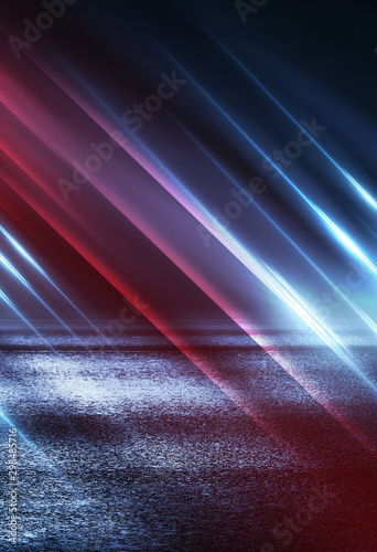 Empty background scene. Dark street reflection on wet asphalt. Rays of neon light in the dark, neon shapes, smoke. Background of an empty stage show. Abstract dark background. - 298485716