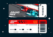 Vector Illustration Of The Entrance Ticket Design Template For The Grand Prix Of High-speed Auto Racing
