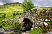 Barrow Beck River At Historic Stone Packhorse Bridge Ashness Bridge Under Bleaberry Fell Mountain Lake District National Park England