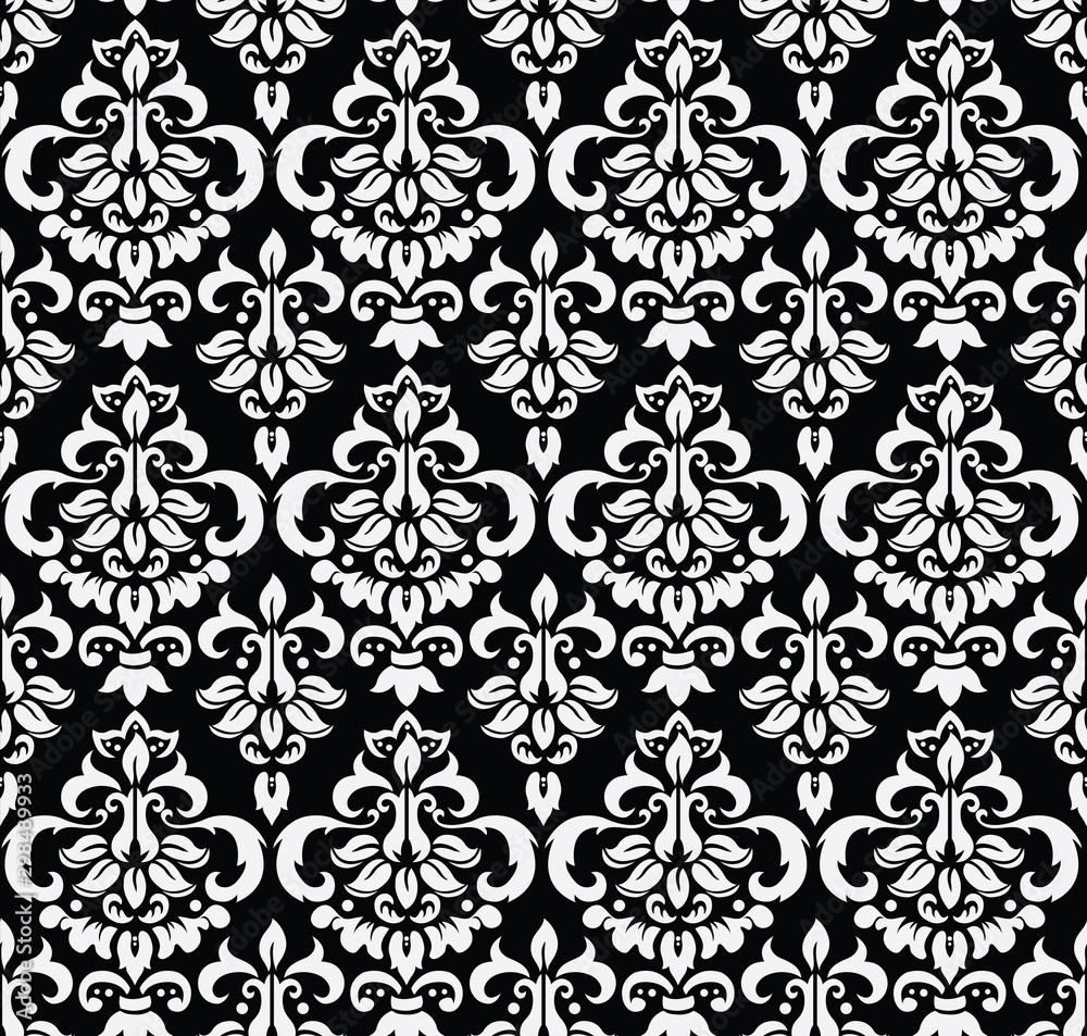 Seamless Damask Wallpaper Black and White