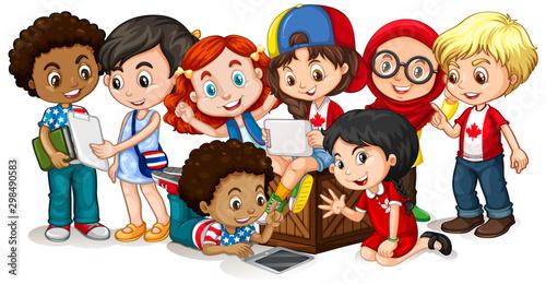 Fototapeta Happy children looking at tablet together
