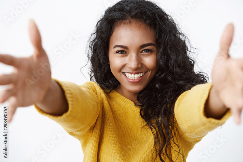 Close-up tender and cute pretty african american curly-haired woman in yellow sw Poster Mural XXL