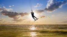 Silhouette Of An Kitesurfer Ag...