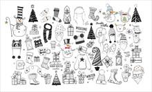 Big Set Of Winter Doodles On White Background.
