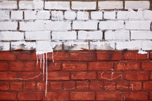 Old Worn Red White Brick Wall....