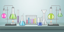 Laboratory Flasks With Pipes. Chemical Or Chemistry Lab With Tubes And Heating Fire. School Experiment. Glassware Connected Containers For Reaction. Biology Test And Education Table, Pharmacy,medicine