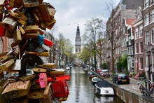 Colourful Love Locks On A Bridge In Amsterdam