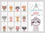 Fototapeta Fototapety na ścianę do pokoju dziecięcego - Calendar 2020. Cute monthly calendar with woodland boho animals.