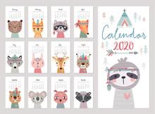 Calendar 2020. Cute Monthly Calendar With Woodland Boho Animals.