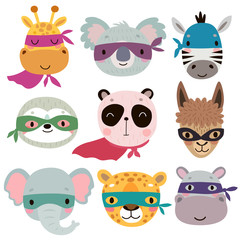 Superhero animal faces. Cute Hand drawn characters.