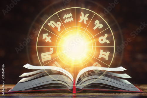 Poster Pierre, Sable Astrology horoscope concept. Opened book with magic zodiac signs and symbols.