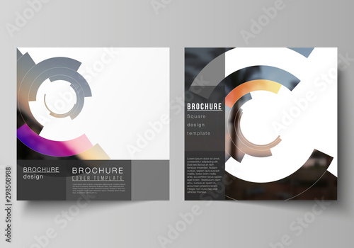 Echelle de hauteur The minimal vector layout of two square format covers design templates for brochure, flyer, magazine. Futuristic design circular pattern, circle elements forming geometric frame for photo.