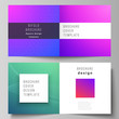 The vector illustration of editable layout of two covers templates for square design bifold brochure, magazine, flyer, booklet. Abstract geometric pattern with colorful gradient business background