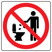 Do Not Litter In Toilet Icon. Keep Clean Sign. Silhouette Of A Man, Throw Garbage In A Bin