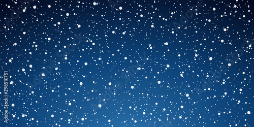 Montage in der Fensternische Blaue Nacht Snow blue background. Christmas snowy winter design. White falling snowflakes, abstract landscape. Cold weather effect. Magic nature fantasy snowfall texture decoration Vector illustration