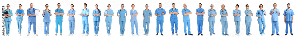 Fototapeta Collage of people in uniforms on white background. Medical staff