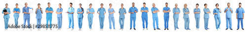 Collage of people in uniforms on white background. Medical staff Wallpaper Mural
