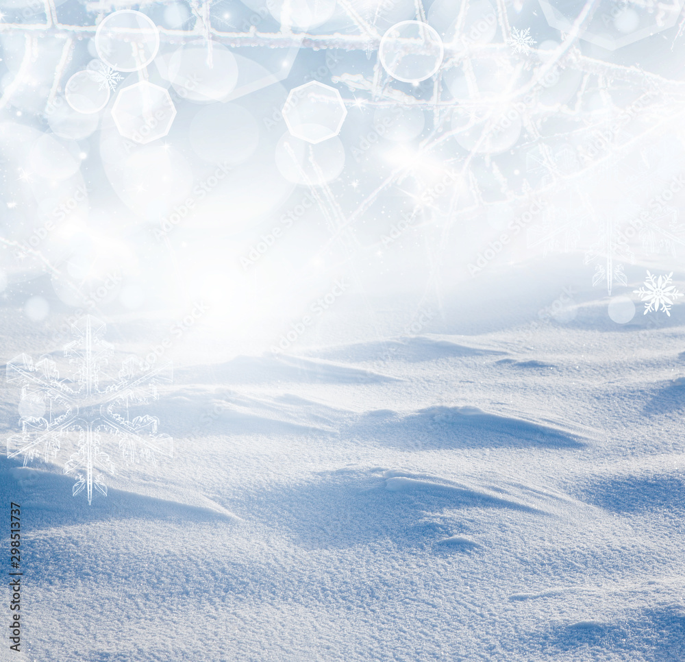 Fototapety, obrazy: fresh snow and christmas lights holiday background