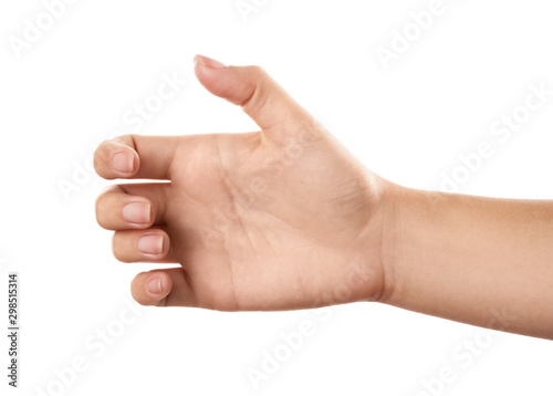 Woman holding something on white background, closeup of hand Canvas-taulu