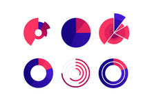 Vector Color Flat Chart Diagram Icon Illustration Set. Red And Blue Diagram Collection Of Pie, Donut, Radial Bar And Polar Area Infographic Element. Design For Finance, Statistics, Analitics, Science.
