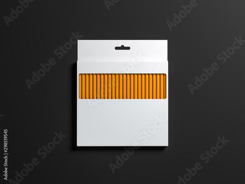 Obraz na płótnie Large white Pencils Set box Mockup on black background