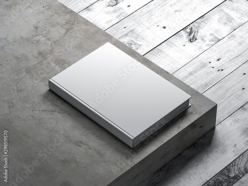White Book Mockup with textured hardcover on concrete stair Fototapet