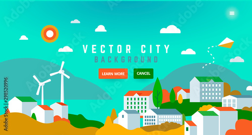 Montage in der Fensternische Reef grun City landscape with buildings, hills, trees - abstract horizontal banner.