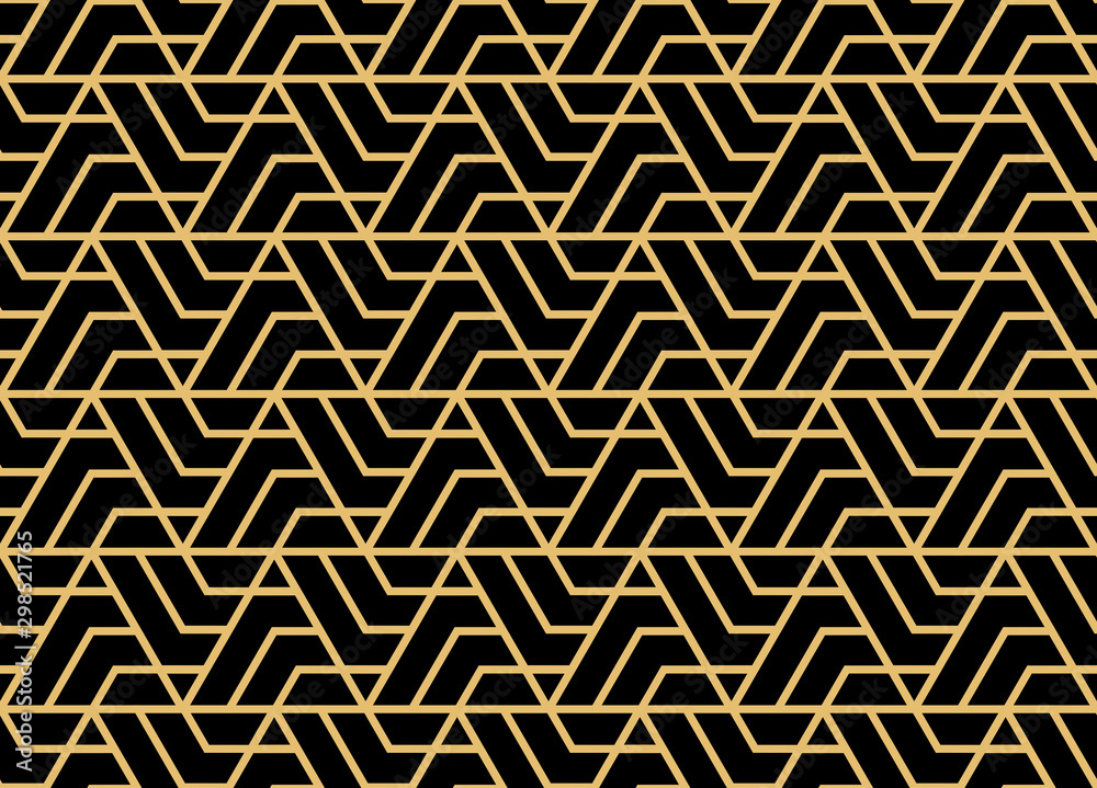 Fototapety, obrazy: Abstract geometric pattern. A seamless vector background. Gold and black ornament. Graphic modern pattern. Simple lattice graphic design