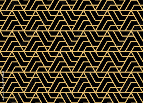 Montage in der Fensternische Künstlich Abstract geometric pattern. A seamless vector background. Gold and black ornament. Graphic modern pattern. Simple lattice graphic design