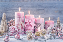 Four Pink Christmas Candle