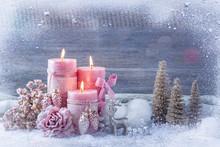 Pink Christmas Candles
