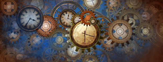 Industrial and steampunk style background with clocks and wheels