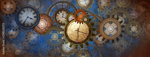 Photo Industrial and steampunk style background with clocks and wheels