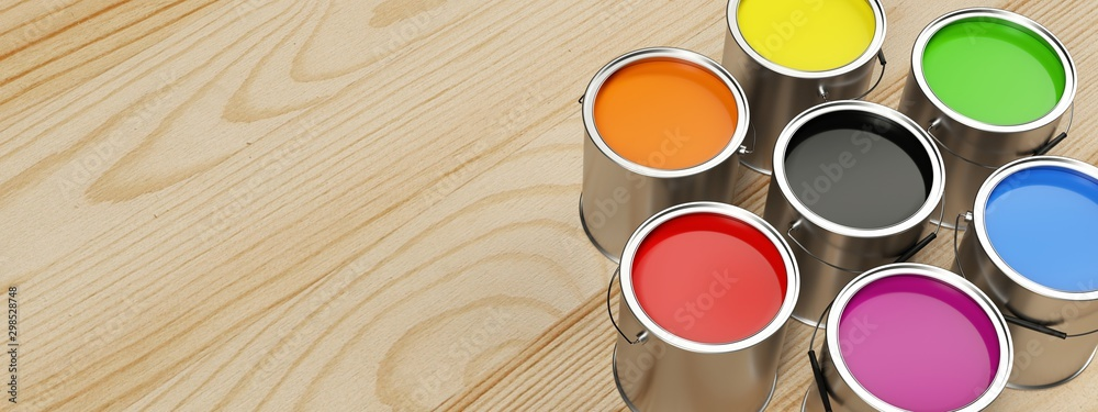 Fototapety, obrazy: Banner for paint shop. Several intense colors.