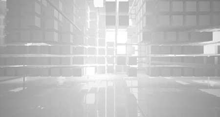 Abstract white architectural interior from an array of white cubes with neon lighting. 3D illustration and rendering.