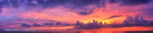 Cadres-photo bureau Prune Phuket beach sunset, colorful cloudy twilight sky reflecting on the sand gazing at the Indian Ocean, Thailand, Asia.
