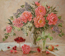 Still Life With A Bouquet Of Peonies And Lilacs, A Small Bouquet Of Lilies Of The Valley And With A Cup Of Ripe Cherries On A Beige Background. Spring Still Life Painted By The Artist With Oil Paints