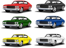 Classic Muscle Car In Multiple...