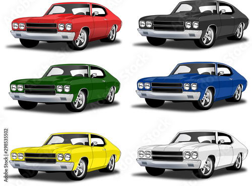 Classic muscle car in multiple colors Tablou Canvas
