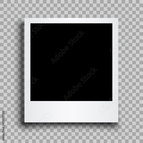 Obraz na plátně Empty black photo frame with shadows - stock vector