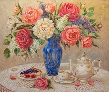 Still Life With A Bouquet Of Peonies, A Tea Cup And A Teapot, And Blueberry Pie On A Plate Painted By The Artist With Oil Paints On Canvas