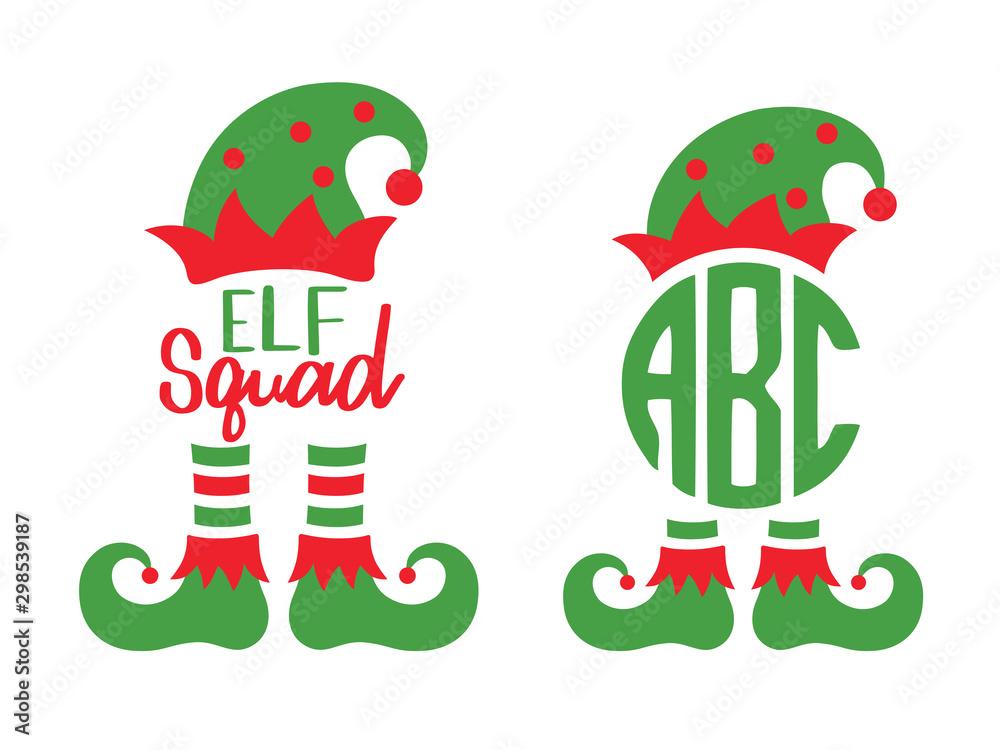 Fototapeta Cute elf squad monogram frame vector illustration. Christmas elf hat and boots.