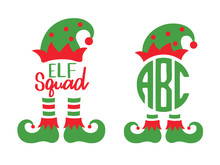 Cute Elf Squad Monogram Frame ...