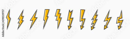 Leinwand Poster Set thunder and bolt lighting flash icon