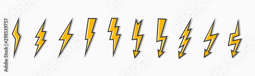 Set thunder and bolt lighting flash icon Canvas Print
