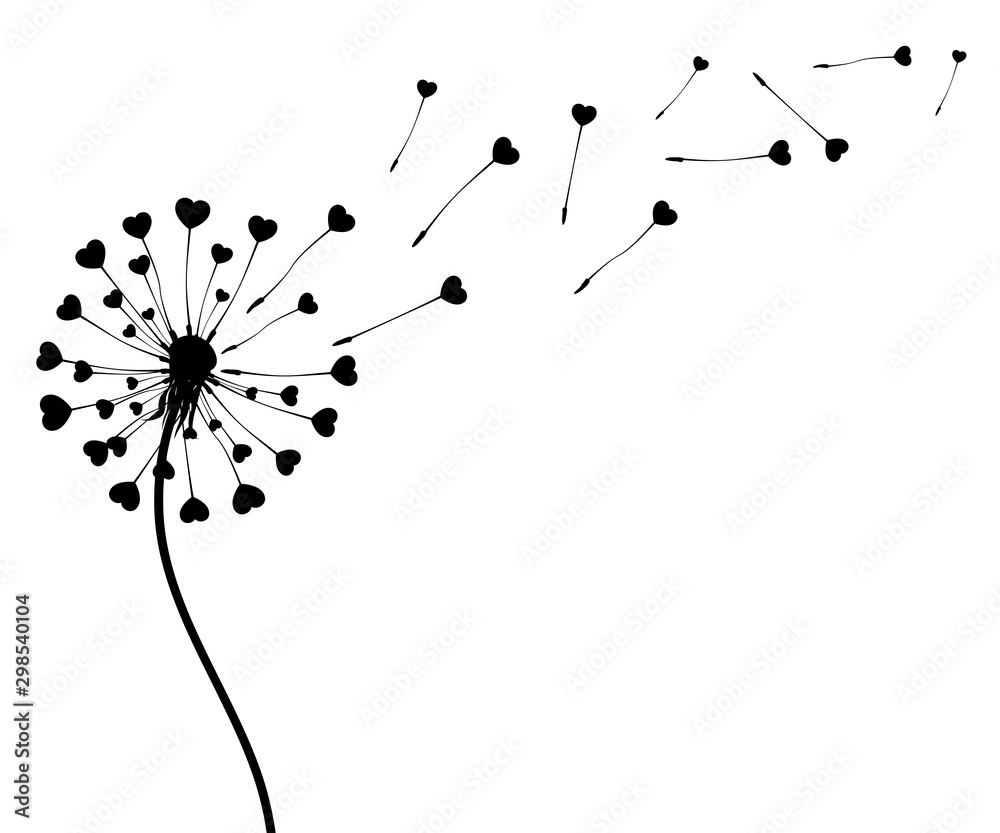 Fototapeta Abstract black dandelion silhouette with hearts, flying seeds of love dandelion - stock vector