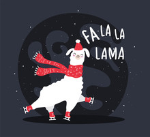 Llama With Snow And Many Details. Funny Alpaca  Deer. Fa La La Lama. Typography Poster,card,label,banner Design Set With Background. Happy New Year