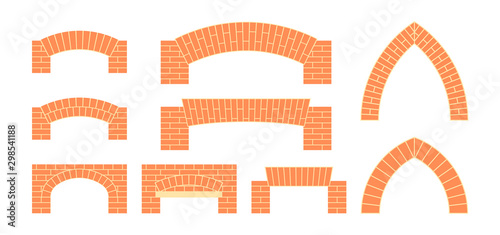 Vector brick icons in simple flat style Wallpaper Mural