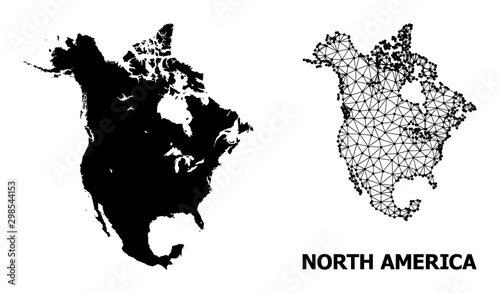Cuadros en Lienzo  Solid and Carcass Map of North America