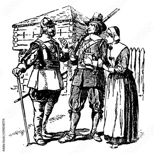 Puritans,vintage illustration Canvas Print